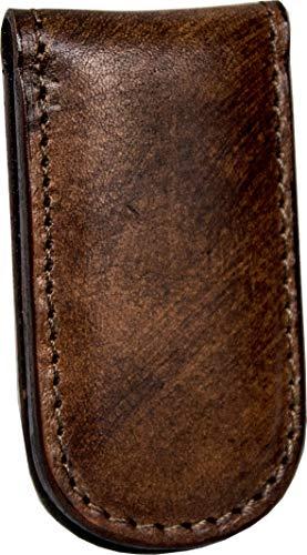 Magnetischer Geldclip aus echtem Leder – Etabeta Artigiano Toscano – Made in Italy (braun von Hand gefärbt)