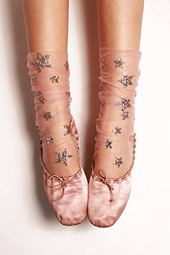 FXmimior Fashion Women Hot Glitter and Stars Tulle Socks for Women