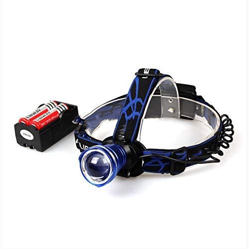Scheinwerfer, 2000 Lumen, Aluminium, verstellbarer Fokus, LED-Scheinwerfer, Stirnlampe, 2 x 18650 Akku + Ladegerät Skilhunt