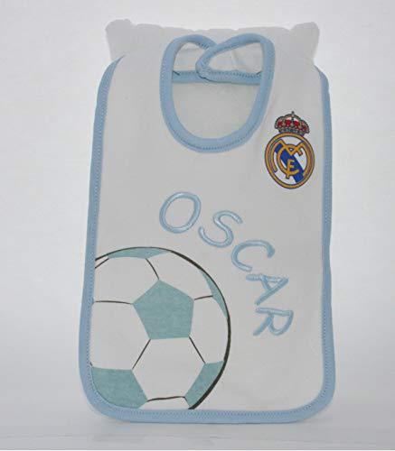 PRIMERAEDAD/Babero bebé real Madrid Personalizado con nombre/COLOR BLANCO/