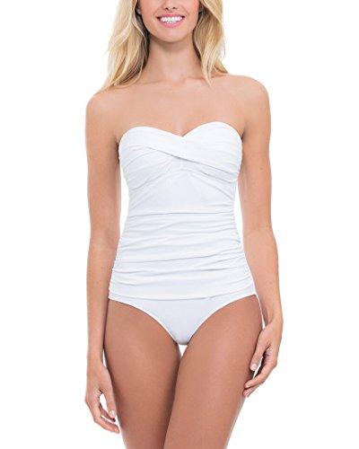 Profile by Gottex Women's Tutti Frutti One Piece Bandeau Swimsuit White 10