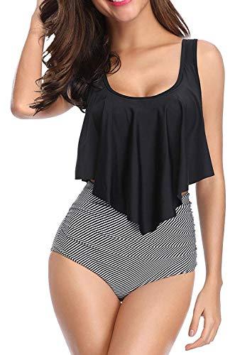 SouqFone Plus Size Swimwear Two Pieces Falbala Bathing Suits Push Up Padding Swimsuits - XXX-Large, Black