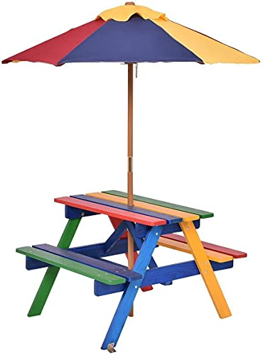 COSTWAY Kids Picnic Table, Garden Wooden Bench with Removable Umbrella, Outdoor Children Furniture Parasol Set (Rainbow)