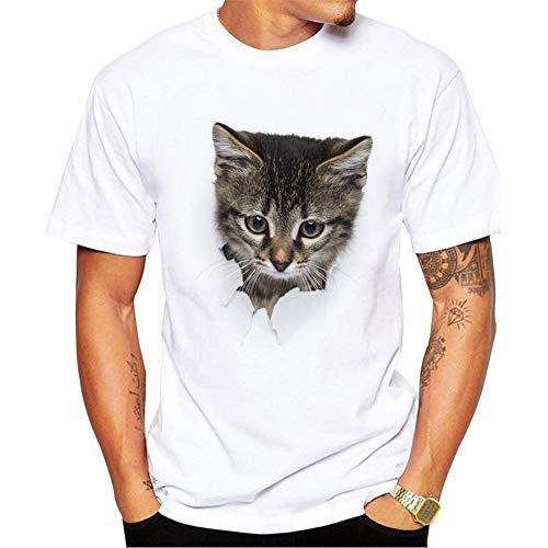 Unisex 3D Gato Patrones Impresión Casual T-Shirt Patrón Impreso Camisetas Verano Casual Manga Corta T-Shirt Funny Hombre Mujer XS-4XL,b,XS