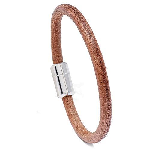 Pulseras De Cuero Hombres Mensimaliz Magnet Braslet Brown Charms Brazalete Casual Joyería Accesorios para Él Bileklik-Plata