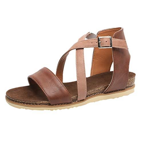 iYmitz Damen Mode Sommer Sandalen Frauen Sandals Flach Sandaletten PU Flache Schuhe Weiches Freizeit(Braun,EU-43)