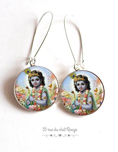 Pendientes cabujón Dios hindú, Shiva, Asia, jurado, religión la India, la divinidad india