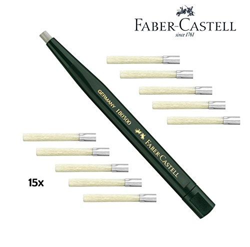 Faber-Castell 180300 - Drehstift mit Glasradierer, Schaftfarbe: grün + 15 Ersatzminen