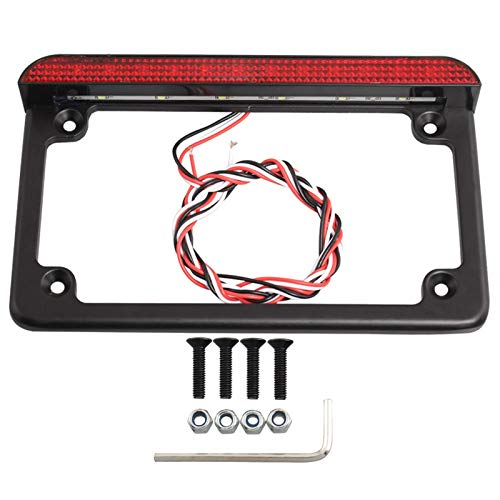 LIFFZ Universal Motorcycle 6' LED License Plate Frame With LED Tail Brake Light For Harley Yamaha Offroad Truck Vehicle Plate Bracket