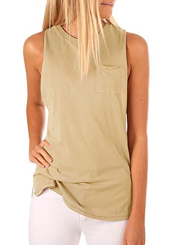 Women's High Neck Tank Top Sleeveless Blouse Plain T Shirts Pocket Cami Summer Tops Khaki