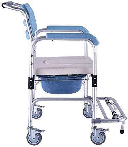 Silla de Ducha con Ruedas Asiento de Inodoro móvil Asiento de Inodoro Aleación de Aluminio Silla de baño Refuerzo para Mujeres Embarazadas Inodoro