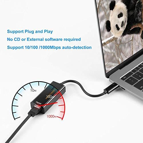 USB C LAN, CableCreation™ Vergoldet USB 3.1 Typ C (USB-C) zu RJ45 Gigabit Ethernet LAN Netzwerkadapter, für Apple Das MacBook, Chromebook Pixel und mehr USB C-Geräte, schwarz/ 10cm