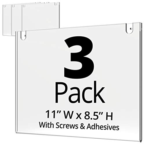 Mammoth Acrylic Wall Sign Holder 8.5 x 11 Inches, Thick & Durable Design, Stick On or Screw On, Screws and Double Sided 3M Tape Inclusive (Landscape 3 Pack)