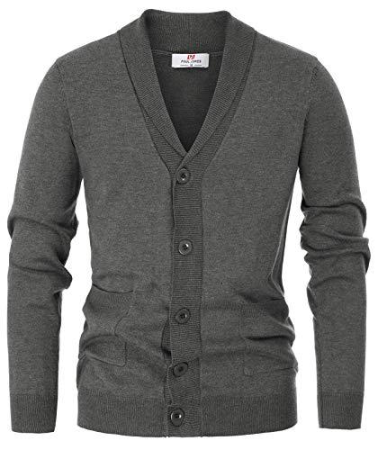 PJ PAUL JONES Men's Slim Fit Western Knitwear Cardigan Sweater with Ribbed Edge Size 2XL Grey
