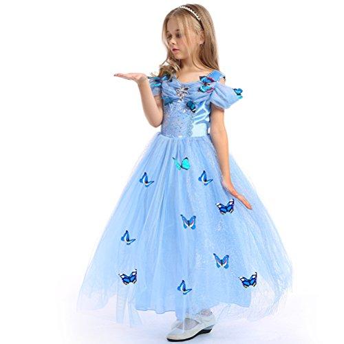 URAQT Princesa Traje del Vestido, Traje de Princesa Azul con Mariposas Vestido Infantil Disfraz de Princesa de Niñas para Fiesta Carnaval Cumpleaños Cosplay Halloween (150)