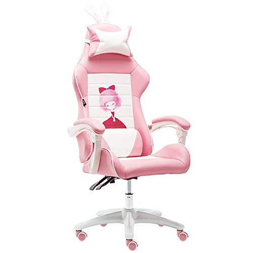 CWW Silla Gaming Profesional Polipiel reposabrazos Ajustable 3D Asiento basculable Altura Regulable Respaldo reclinable Cojines Lumbar y Cervical (Rosa),There Are Feet to Drag