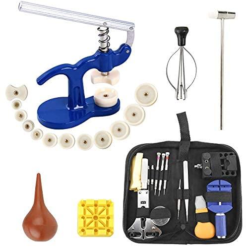 Homtone Uhrenwerkzeug Set, Uhren Reparatur Set, Uhr Presse Uhr Einpresswerkzeug Set, Professionelles Uhrmacherwerkzeug Uhr Akku-Ersatzwerkzeug Reparatur Werkzeug mit Tragetasche
