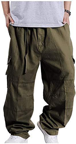 CYSTYLE Herren Hip Hop Hose Cargohosen Hipster Style Baggy Rap Straight Leg Loose Fit (Armeegrün, L)
