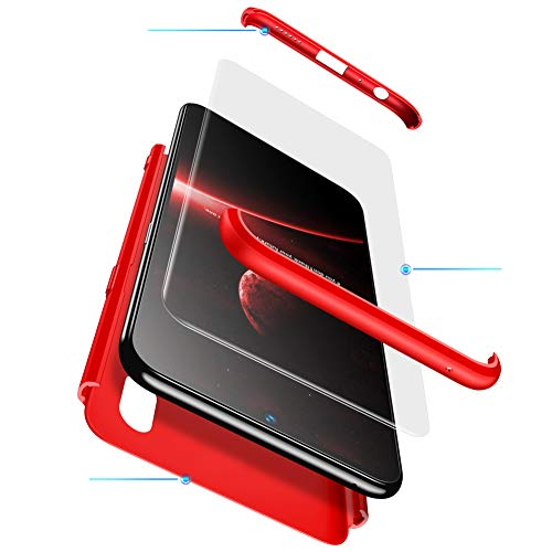 MEVIS Funda Vivo V7/Y75,360 Grados Integral para Ambas Caras + (Cristal Templado) Luxury 3 in 1 PC Hard Skin Carcasa Case Anti-Arañazos Ultra Thin Anti-Scratch-Rojo