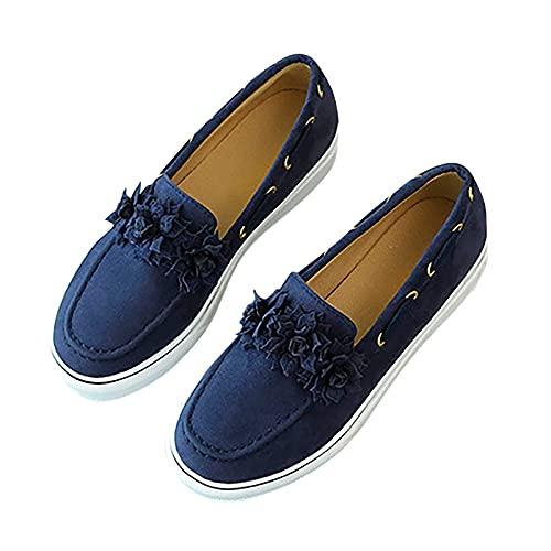Slippers dames lage top meisjes plateau zeildoek boog bowknot platte schoenen platform loafers mocassins sneakers zomerschoenen strandsandalen, blauw, 36 NL