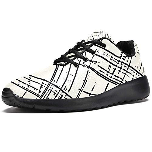 TIZORAX Zapatillas de correr para hombre, abstractas, monocromáticas,