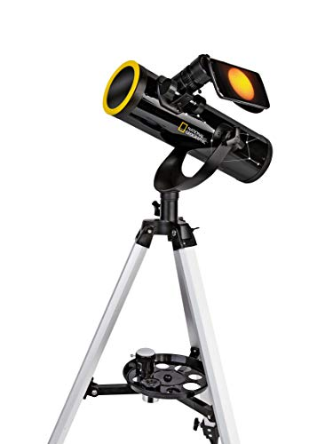 National Geographic 76/350 - Telescopio con trípode, Soporte para Smartphone y Filtro Solar para observar el Sol en luz Blanca