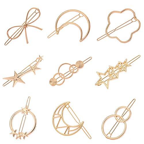 6 piezas Juego de pinzas de pelo de metal geométricas Pinza de pelo circular Horquillas de metal geométricas huecas para mujer Horquillas de metal, accesorios para el cabello para niñas, dorado
