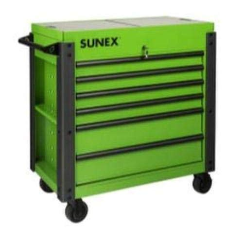 Sunex Tools (SUN8035XTFDLG) 6 Drawer Slide Top Cart with Power-Lime Green