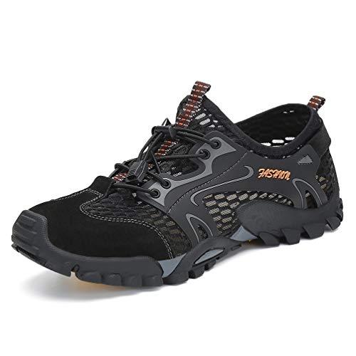 FLARUT Herren Sommer Trekking Sandale Wanderschuhe Super Atmung Draussen Hiking Schuhe Mesh Vamp Wasserschuhe Sport Laufen Klettern(Schwarz,46)