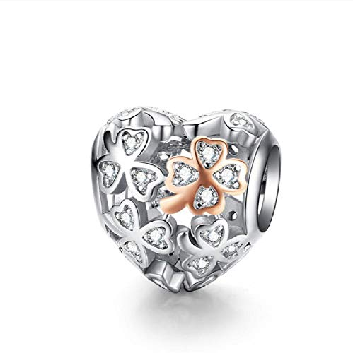 BAIYANG Auténtica Plata de Ley 925 con Forma de corazón, Cuentas de Encanto, Pulsera de Marca,joyería de Plata Original
