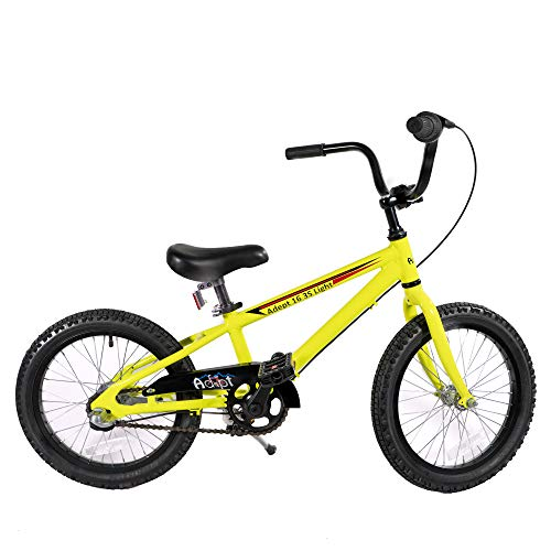 Lightweight 3 Speed 16 inch Kid's Bike with Shimano Internal Gears and Shifter, Bright Safety Yellow, w/Water Bottle & Holder. Adept Family Brand, Model Adept 16 3S Light