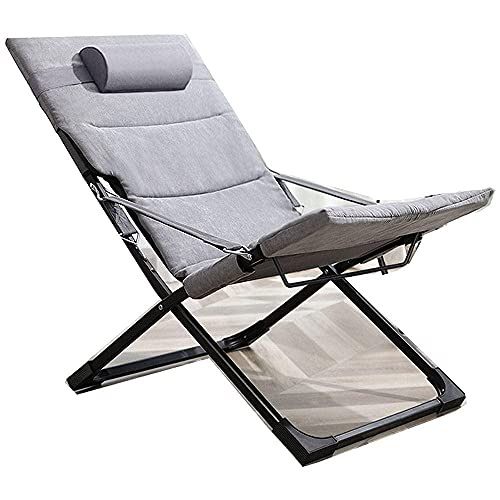 CCAN Patio Lawn Lounger, Lunch Break Stuhl, Home Klappstuhl, Outdoor Freizeit Rücken an Rücken Stuhl, Office Nap Bed-Grey + Grey Cotton Pad Interesting Life