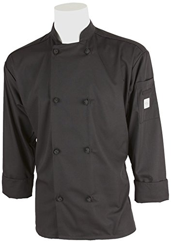 Mercer Culinary M60012BK3X Millennia Men's Cook Jacket with Cloth Knot Buttons, 3X-Large, Black