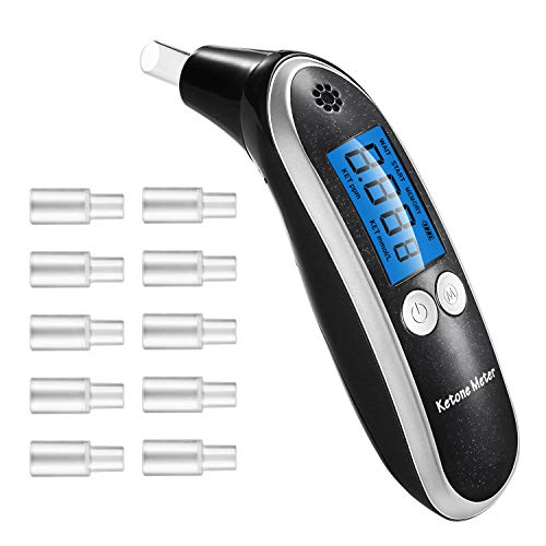 Ketone Breath Analyzer, Keto Meter, Professional Portable Digital Ketone Breath Meter with 10 Mouthpieces for Personal Use