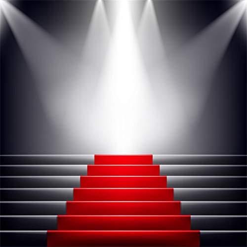 YongFoto 1,5x1,5m podium foto achtergrond rode tapijt ladders 3D verlichting achtergrond schijnwerper voor party evenement fotografie video achtergrond Studio rekwisieten behang