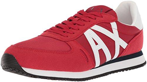 AX Armani Exchange Oversized AX Logo Mesh Athletic Sneaker, Zapatillas Deportivas. para Hombre, Rojo, Gris, 44.5 EU