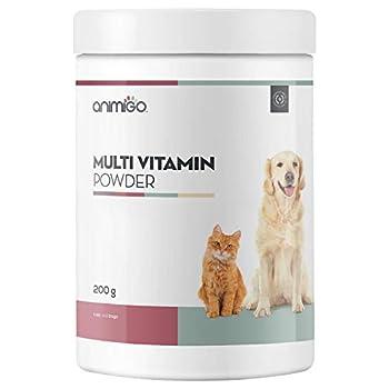 Animigo Poudre Multivitamines - Complément Alimentaire Naturel - Riche en Vitamines, Minéraux et Acides Aminés - pour la Santé du Chien, Chat, Chiot, Chaton - Poudre 200g