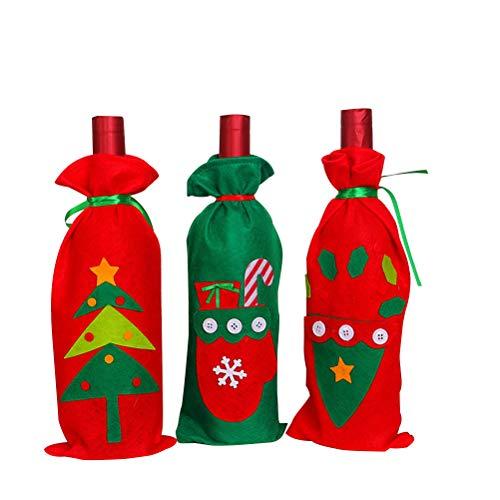 PRETYZOOM 3 fundas reutilizables para botellas de vino de Navidad, bolsa de botella de cerveza de champán, bolsa de regalo para caramelos de fiesta y bolsillo y guantes)