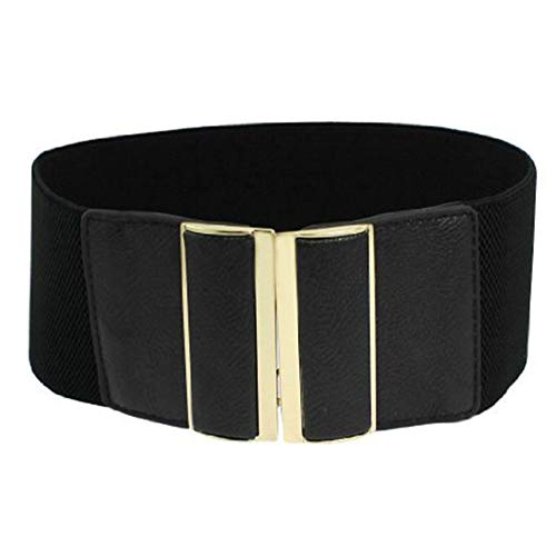 Nicedeal - Cinturón elástico ajustable, color negro, con hebilla de metal dorado,...