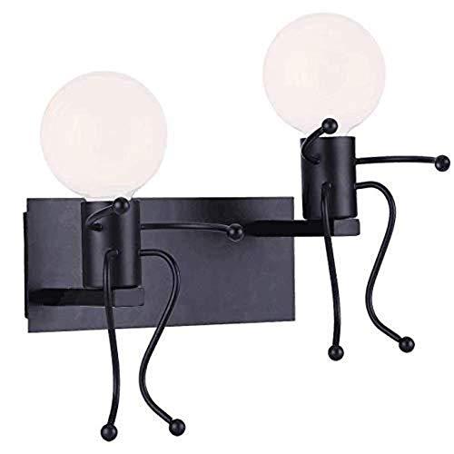 Apliques Pared Pasillo del pasillo del LED retro del arte del hierro lámpara de pared de la sala de estar comedor dormitorio cálido Estudio Escalera Balcon Negro Amarillo claro simple de la pequeña ge