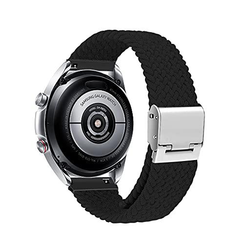 Niboow 20mm Solo Loop Armband Kompatibel mit Samsung Galaxy Watch 4, Ersatzband für Samsung Galaxy Watch 4 Classic/Watch Active/Active 2/Galaxy Watch 3 41 mm/Samsung Gear Sport/S2 Classic-Schwarz