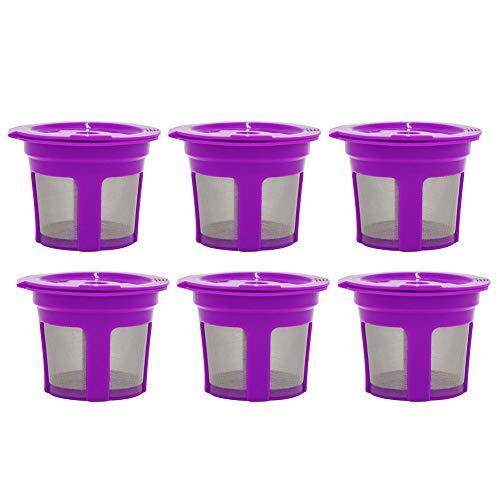 Move on 6Pcs Reusable Refillable K-Cup Coffee Filter Pod, for Keurig K50 K55 Coffee Maker Purple 6pcs