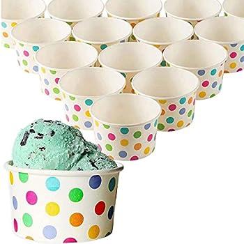 50-Count Paper Ice Cream Sundae Cups Yogurt Dessert Bowls Rainbow Polka Dots Party Supplies 8-Ounces