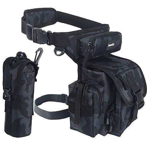 Jueachy Bolsa de Pierna Táctical Militar Impermeable Multifuncional, Bolso de Cintura al Aire Libre para Hombre Mujere, Riñoneras de Marcha para Correr Pesca Motociclismo Senderismo Camping Caza