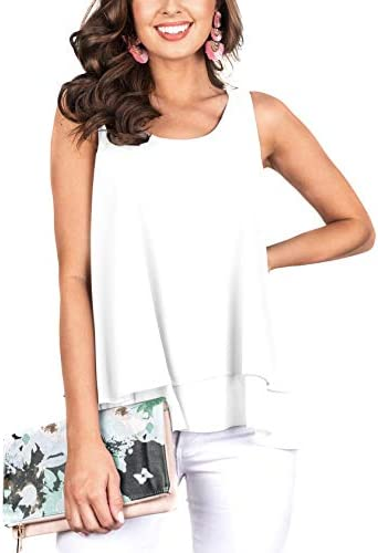 Floral Find Women s Chiffon Layered Tank Tops Summer Sleeveless Round Neck Blouses Shirts product image