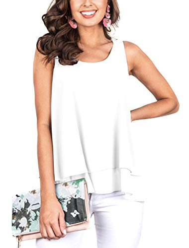 Floral Find Women's Chiffon Layered Tank Tops Summer Sleeveless Round Neck Blouses Shirts