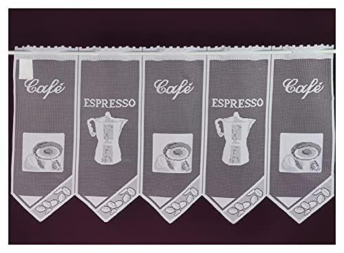 Schmidtgard Stoffe Tenda a pannello Espresso caffè corto, stile vintage Jacguard, 50 x 90 cm, colore bianco