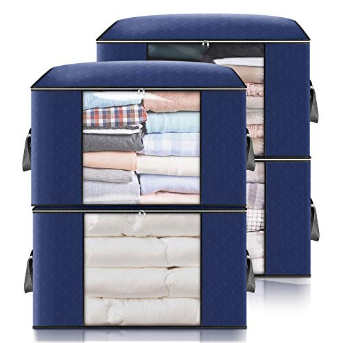 king do way Closet Organizer Clothes Storage Bags Large Capacity Storage Organizers with Reinforced HandleStainless Steel Zipper3 Layer Fabric for ComfortersBeddingBlankets Clothing Dark Blue Storage without Divider4 Pack