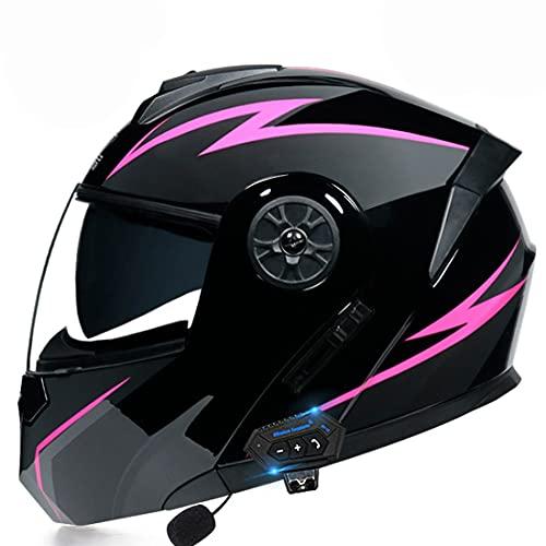 YALIXING Bluetooth Integrado Casco De Moto Modular con Doble Visera Cascos De Motocicleta ECE Homologado A Prueba De Viento para Adultos Hombres Mujeres (Color : 13, Size : Medium 57-58CM)