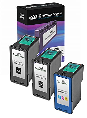 Speedy Inks Remanufactured Ink Cartridge Replacement for Lexmark 32 & Lexmark 33 (2 Black, 1 Color, 3-Pack)